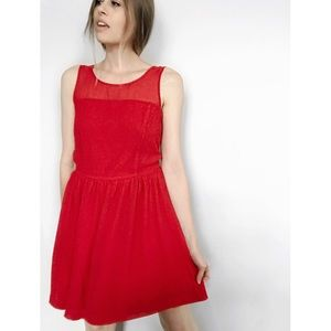 [Kensie] Ruby Red Crepe Dress Fit and Flare